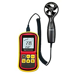 Trissem Digital Anemometer GM 8901 Wind Speed Air Flow Rate Measurement High Precision Measurement Easy Compact Portable LCD with Back Light Probe Anemometer Kestrel Anemometer lacross