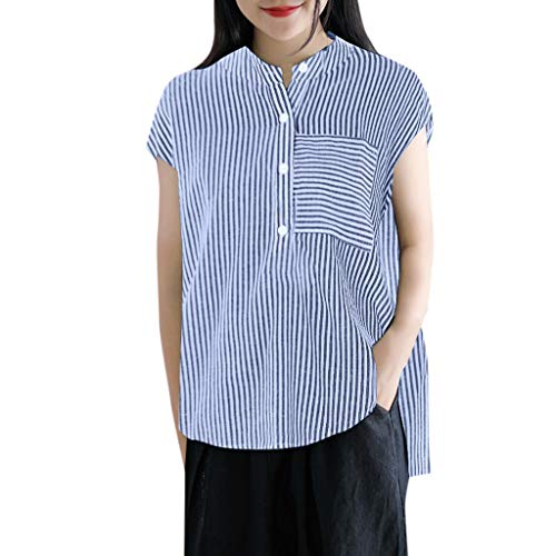 Kawaiine Women Plus Size Casual Stripe Print Tank Shirt Button Pocket Sleeveless Tops Dark Blue