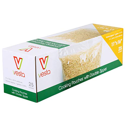 Double Zipper Non-Vacuum Seal Pouches by Vesta Precision   Clear and Flat Food Storage Bags   Does Not Require a Vacuum Sealer for Food Packaging   11 x 16 inches   25 Pouches per Box