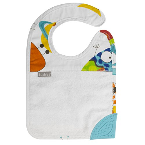 Kushies Silidrool Absorbent Terry Baby/Toodler Feeding & Teething Bib with BPA Free Silicone Teether, White/Blue