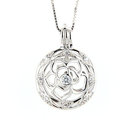 Round Flower Locket - 1 Piece 925 Sterling Silver Round with Flower Locket Pendant