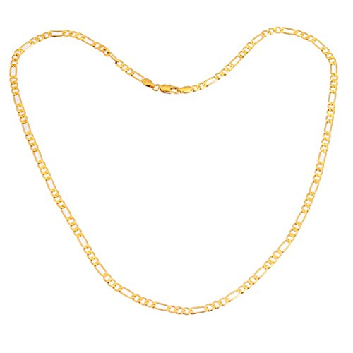 24K Gold Plated 4.2mm Wide Figaro Link Chain Necklace for Mens Jewelry,21.65