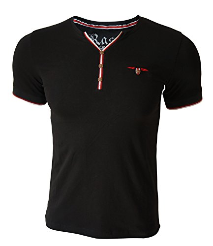 Rass Collection MFL-2508 Henley T-shirt – Men's Tee Shirts Black