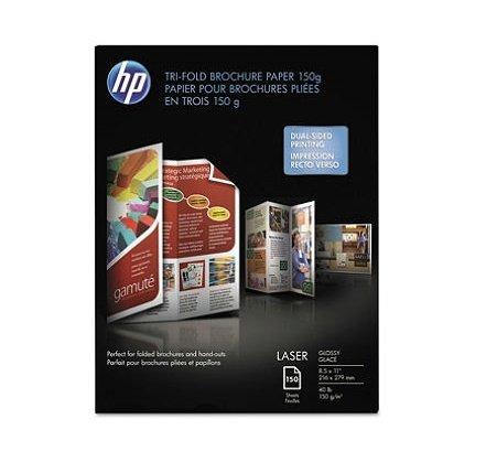 New-HP Q6612A - Tri-Fold Laser Brochure Paper, 97 Brightness, 40lb, 8-1/2 x 11, White, 150 /Pack - HEWQ6612A