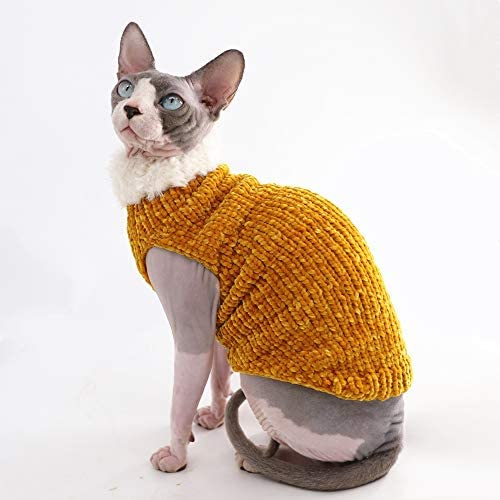 Sphynx Cat Clothes Winter Warm Faux Fur Sweater Outfit, Fashion high Collar Coat for Cats Pajamas for Cats and Small Dogs Apparel, Hairless cat Shirts Sweaters (XL (9.9-13.2 lbs), Ginger) 22