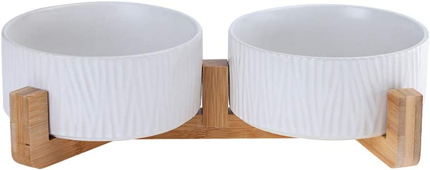 LIONWEI LIONWELI White Ceramic Cat Dog Bowl Dish with Wood Stand No Spill Pet Food Water Feeder Cats Large Dogs Set of 2