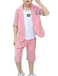 La Vogue Little Boys Wedding Page Boys Suit Set Classic Plaid Coat+Shorts +Shirt 3Pcs Formal Party Tuxedo Dress Suit