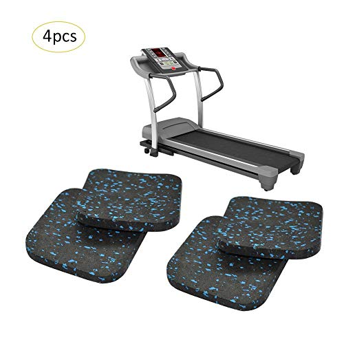 VOVI Treadmill Mat High Density with Protective Exercise Mat 4PC Rubber Sound Insulation Cushion Thickened Home Fitness Exercise Bike Equipment Mat for Running Machine (3.943.94 inch)