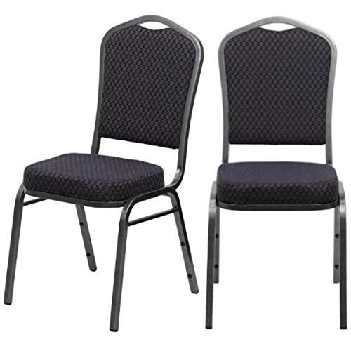 Contemporary Design Commercial Grade Multipurpose Banquet Stacking Chairs Solid Powder Coated Steel Frame Home Restaurant Office Furniture - Set of 2 Black Patterned Fabric/Silver Vein Frame #2220