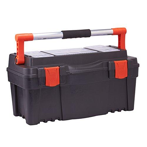 Werkzeugkiste Werkzeugkoffer Werkzeugkasten Werkzeugbox - mit Soft Touch Griff (Schwarz)
