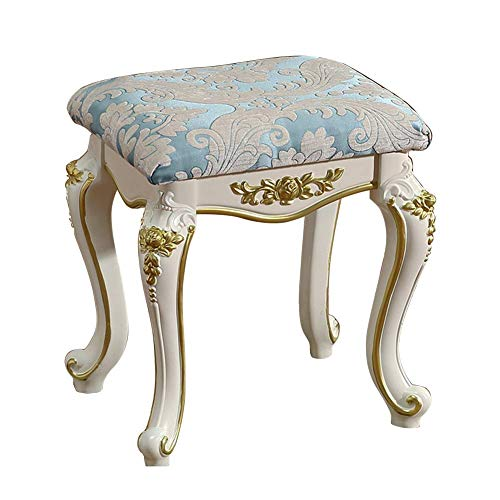 ZDY Vintage Makeup Seat/Baroque Piano Chair/Dressing Stool/Square Footstool/Padded Bench Chair, Plastic Steel Legs/Upholstered, for Dressing Room/Living Room/Bedroom.