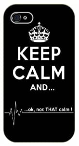iPhone 4 / 4s Keep calm and... OK, not that calm, heart beat - black plastic case / Keep calm, funny, quotes, anatomy, grey's by mcsharks