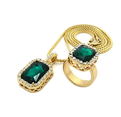 Gold Tone Square Green Gemstone Pendant 2mm 24