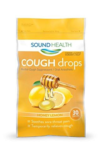 SoundHealth Honey Lemon Cough Drops, Lozenge, Cough Suppressant, 30 Count Single Bag