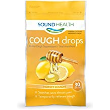 SoundHealth Honey Lemon Cough Drops, Lozenge, Cough Suppressant, 12 Bags, 30 Per Bag, 360 Total Cough Drops