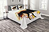 Lunarable Equestrian Bedspread Set King Size, Horse Silhouette Running in Flame Tongues Animal Sport Hobby Print, Decorative Quilted 3 Piece Coverlet Set with 2 Pillow Shams, Orange Black and White