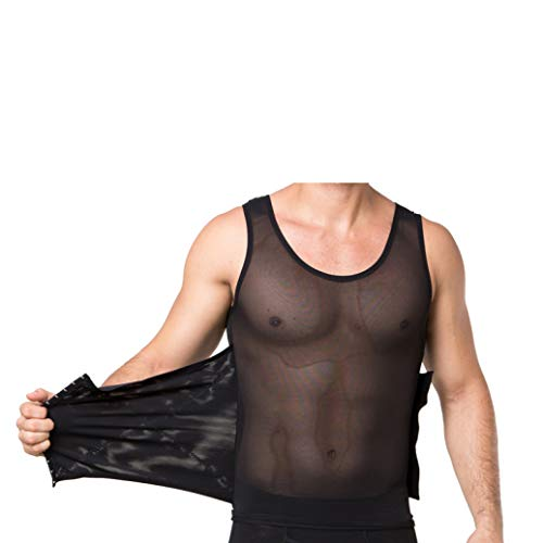 AMY GRAY Transparent Slim Body Shapewear Vest for Mens Tummy Control Promote Sweat Fitness Workout Waist Belt Black (Fastest Way To Lose Your Love Handles)