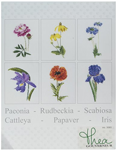 Thea Gouverneur TG3085A 18 Count Counted Cross Stitch Kit, 6-3/4 by 8-Inch, Floral Studies 5 on Aida, Set of ()