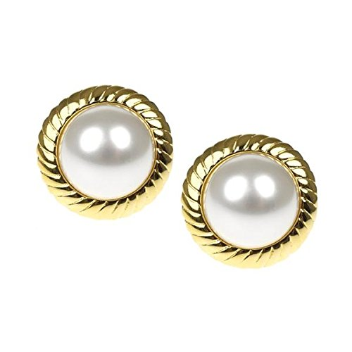 Pearl Earrings as Worn by Barbara Bush Earring Clips Ons Framed Kenneth Jay Lane