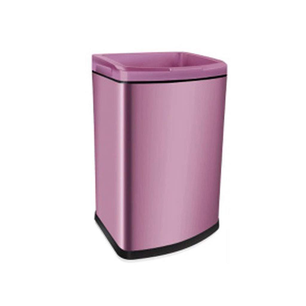 XYW trash can Cubo de Descubierto Basura Cuadrado Descubierto de Oro Rosa Rosa 7c94d0