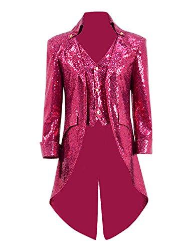 TISEA Mens PU Leather Woolen Faux-Suede Sequin Gothic Tailcoat Jacket Steampunk VTG Victorian Coat (XL, Rose -