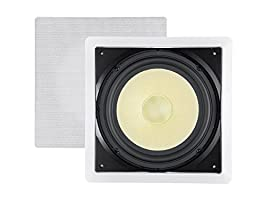 Monoprice Caliber in-Wall Speaker 10 inch Fiber 300W Subwoofer -(Each) Easy Installation & Paintable Grill