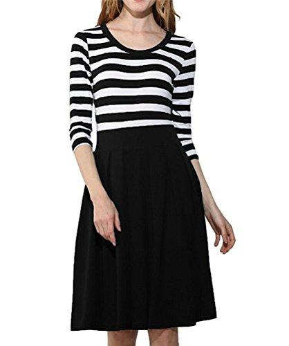 Short Fine Stripe (Toping Fine Women's Stripe Short Dresses Girl's Party Dresses Cheap Swing Dress 1950's Dresses For Women With 3 4 Sleeves BlackSmall)