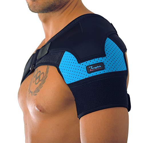 (Shoulder Support Brace - Adjustable Sleeve, With Compression Pad & E-Book by Zeegler Orthosis - Therapy and Pain Relief for Torn Rotator Cuff, Dislocated AC Joint, Bursitis, Frozen Shoulder, Labrum)