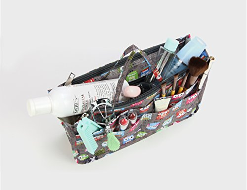 Cosmetic Bag for Women Cute Printing 14 Pockets Expandable Makeup Organizer Purse with Handles (Owl) by MICOM (Image #3)