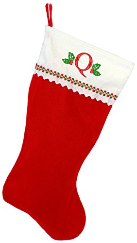 Embroidered Initial Christmas Stocking, Red and White Felt, Initial Q -