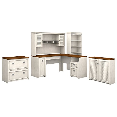 Bush Furniture Fairview 60W L Shaped Desk with Hutch, Storage Cabinets and 5 Shelf Bookcase in Antique White and Tea - Desk Maple Computer L-shaped
