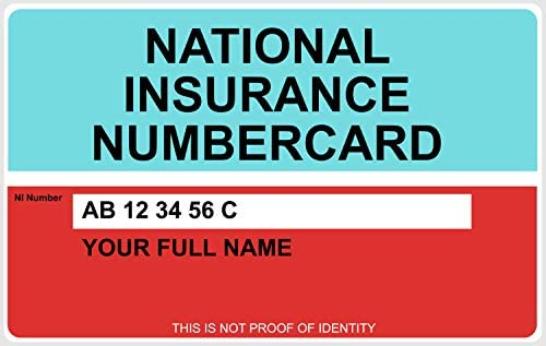 Replica National Insurance Number Card Printed On Hard Plastic Customisable Amazon Co Uk Office Products