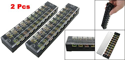 uxcell 2 Pcs Plastic Cover 10 Position Terminal Block Barriers 600V 25A