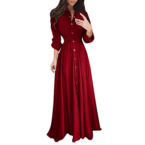 Mikilon Maxi Dress for Women Roll Up Sleeve Collar Button Down Belted Long Casual Tshirt Dress with Pocket Burgendy ()