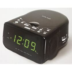 Craig AM/FM Stereo Dual Alarm Clock Radio with CD Player and LED Green Display