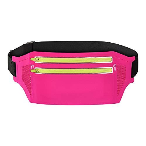 ALACHI USA Running Belt Slim, Women Men Sports Running Waist Fanny Pack Waterproof Lightweight Runners Money Belt Pouch Adjustable Waist Bag for Running Travel Phone Fitness Workout(XL-Pink