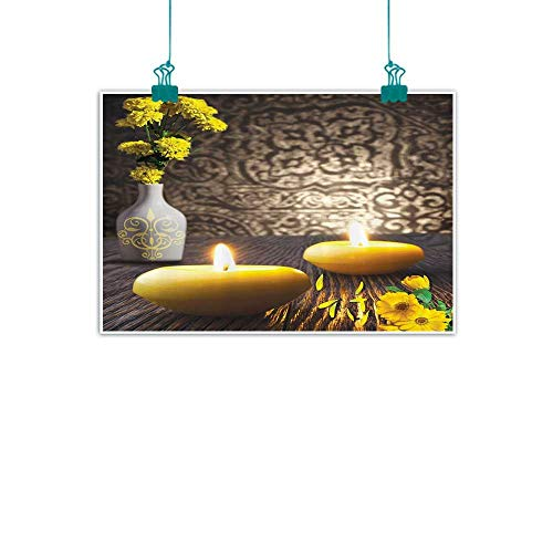 "Resort Spa Zen Home Decor Simulation Oil Painting Candles White Vase Marigold Flowers Wooden Table Asian Japanese Art Decorative Painted Sofa Background Wall 32"" Wx24 L Yellow Brown Gray"