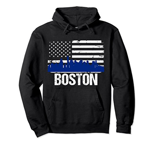 Unisex Boston Skyline Distressed American Flag Hoodie XL: Black