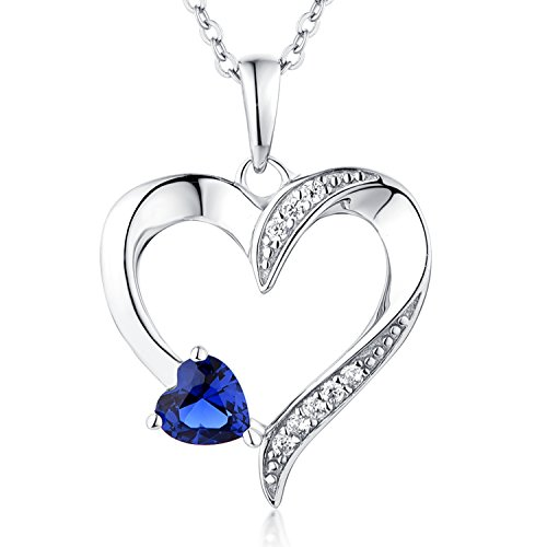 YL Women's Heart Necklace Sterling Silver Cubic Zirconia Blue Heart Pendant Birthstone Created Sapphire (Blue Cubic Zirconia Pendant)