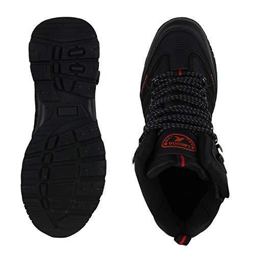 Herren SCARPE Schwarz Outdoor Rot Boots Profilsohle Blockabsatz mit VITA Schwarz Of5qfwT