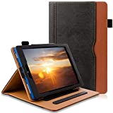 All New FlRE 7 Tablet Leather Case (7th Generation,2017 Released), [Corner Protection][Auto Sleep/Wake] Lightweight Multi-Angle Viewing Folio Stand Cover Cases - Black/Brown