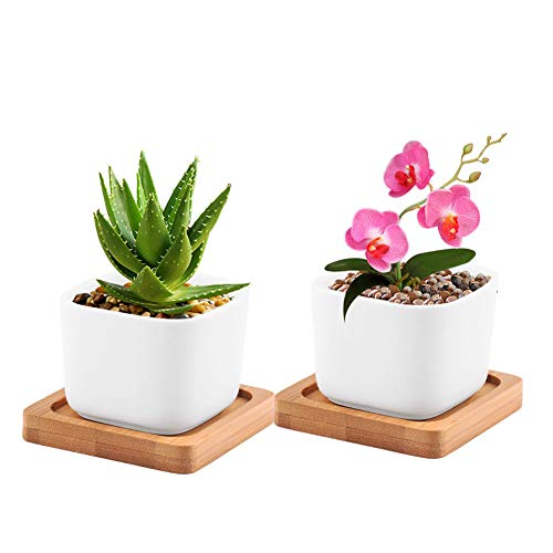 2X Office/Balcony/Shop Desk Pots Quad White Ceramic Flower Garden Plant Box 05B