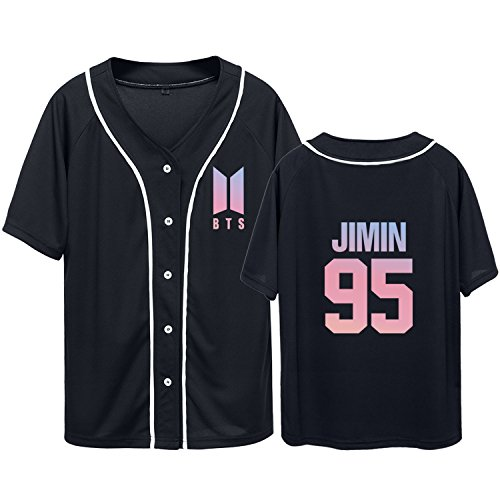 (Dolpind Bangtan Boys BTS Baseball Jersey Same Style T-Shirt SUGA Jimin Jung Kook Tee Shirt M Jimin 95 Black)