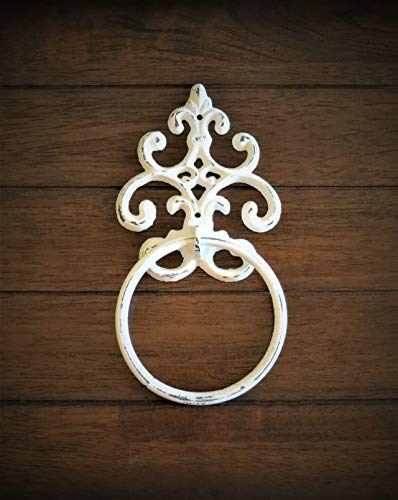 Shabby Chic Towel Ring/Antique White or Pick Your Color Towel Hanger/Heavy Cast Iron Towel Hook/Shabby Chic Bathroom/Fleur de Lis ()