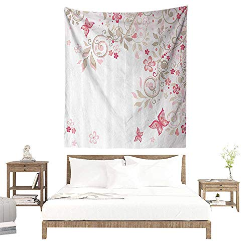 alisoso Wall Tapestries Hippie,Floral,Curly Branches Wildflowers Butterflies Dots Romantic Bridal Wedding Theme,Pink Cocoa Light Pink W39 x L39 inch Tapestry Wallpaper Home Decor