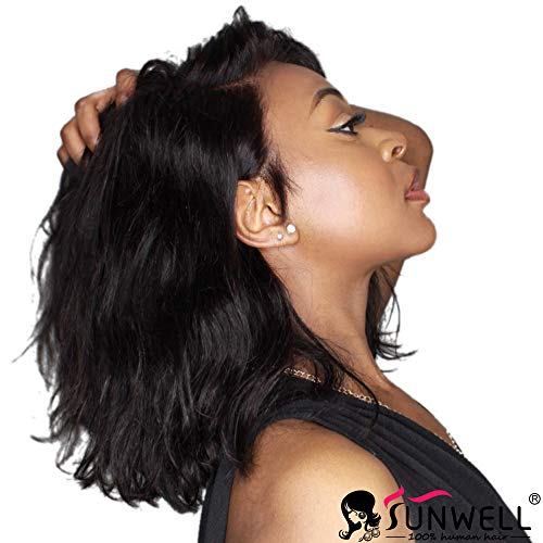 - Sunwell Lace Front Human Hair Bob Wigs Natural Wavy Brazilian Virgin Hair Glueless Short Bob Human Hair Wigs with Baby Hair for Black Women 12 inch