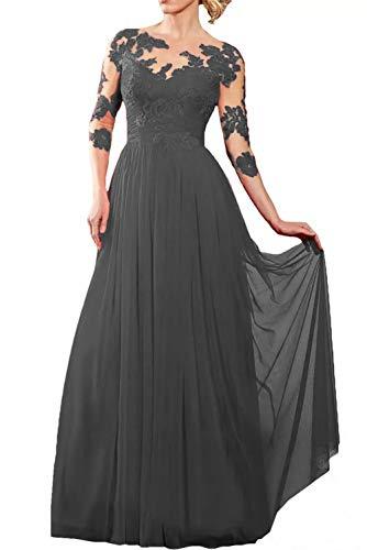Chiffon Rot La Rock Langarm Brautmutterkleider Marie Grau Abendkleider Braut Spitze Glamour Bodenlang Partykleider vwwxZ