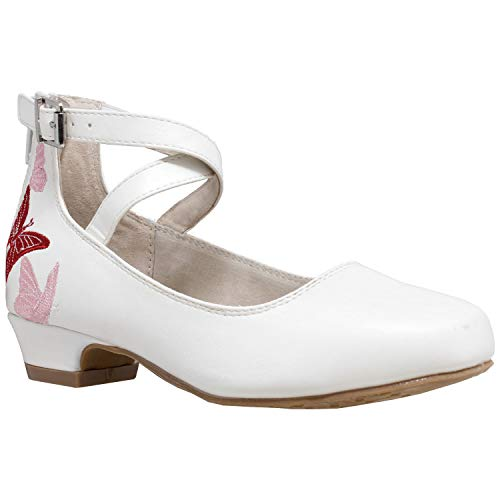 (Sobeyo Girl's Dress Shoes Embroidered Butterfly Mary Jane Block Heel Pumps White SZ 13)