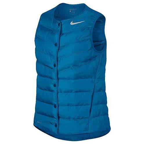 (Nike AeroLoft Golf Vest 2017 Women Blue Fury/Metallic Silver Small)