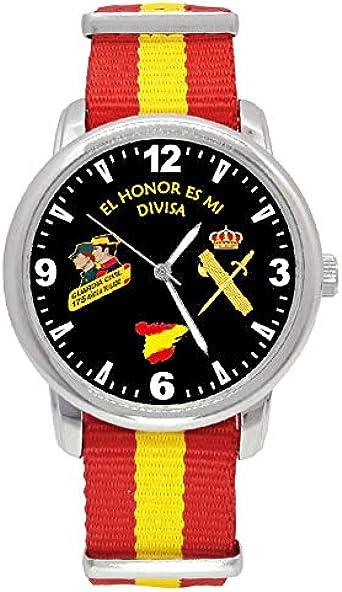 Reloj Guardia Civil Q&Q Correa Bandera España Esfera Negra: Amazon.es: Relojes